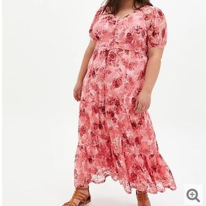 NWT Torrid Pink Floral Lace Tiered Boho Maxi Dress 1X